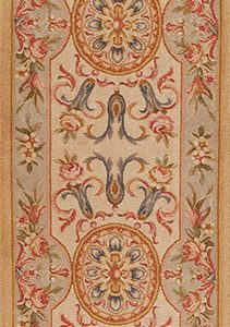 """2'6"""" x 10' Hand-knotted Thick and Plush Wool French Savonnerie Runner Rug"""