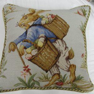 "18"" x 18"" Handmade Wool Needlepoint Rabbit Bunny Cushion Cover Pillow Case"