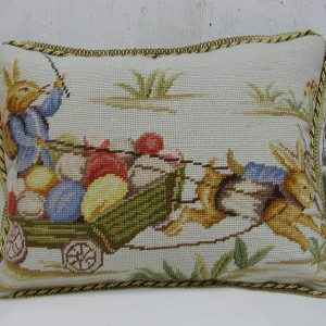 "14"" x 18"" Handmade Wool Needlepoint Rabbit Bunny Cushion Cover Pillow Case"