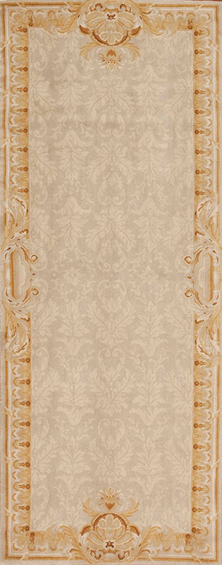 3' x 8' Hand-knotted Thick and Plush Wool French Savonnerie Runner Rug