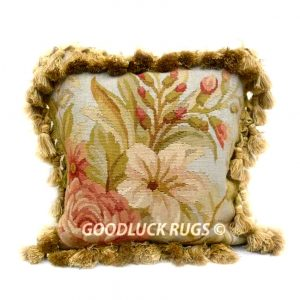 "12"" x 12"" Square Handmade French Gobelin Tapestry Weave Wool Aubusson Cushion Cover Pillow Case"
