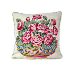 14″x14″ Handmade Wool Needlepoint Petit Point Bowl of Red Roses Cushion Cover Pillow Case 12980100