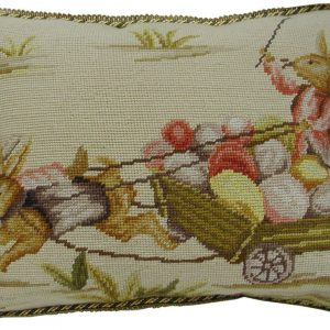 14 x 18 Handmade Wool Needlepoint Rabbit Easter Bunny Cushion Cover Pillow Case 12980140