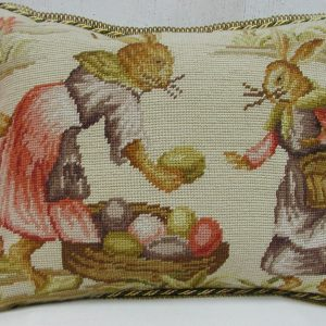 14 x 18 Handmade Wool Needlepoint Rabbit Easter Bunny Cushion Cover Pillow Case 12980141
