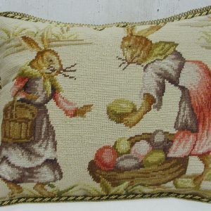 14 x 18 Handmade Wool Needlepoint Rabbit Easter Bunny Cushion Cover Pillow Case 12980142