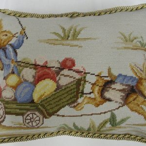 14 x 18 Handmade Wool Needlepoint Rabbit Easter Bunny Cushion Cover Pillow Case 12980148