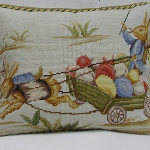 14 x 18 Handmade Wool Needlepoint Rabbit Easter Bunny Cushion Cover Pillow Case 12980149