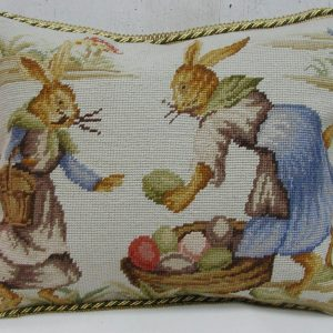 14 x 18 Handmade Wool Needlepoint Rabbit Easter Bunny Cushion Cover Pillow Case 12980150