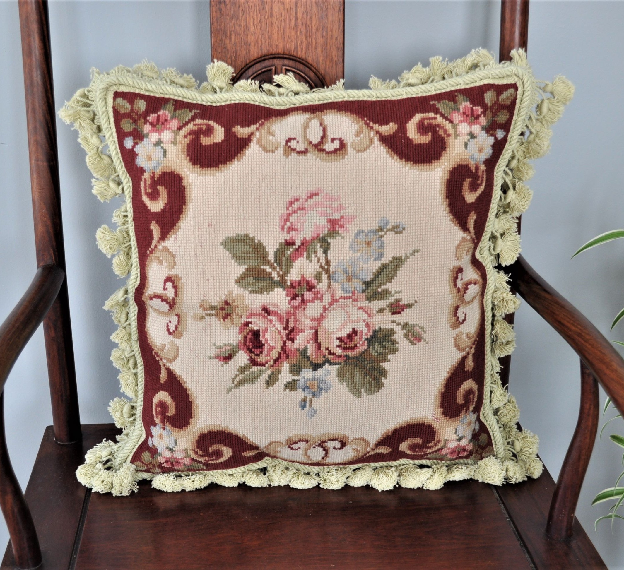 16″x16″ Wool Needlepoint Rose Bouquet Pillow Cover 12980124