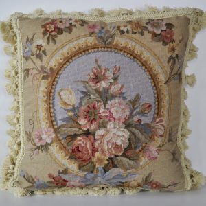 16 x 16 Handmade French Blue Wool Needlepoint Petit Point Cushion Cover Pillow Case 12980128