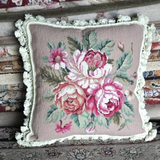 """16"""" x 16"""" Handmade Wool Needlepoint Bouquet of Roses Cushion Cover Pillow Case 12980115"""