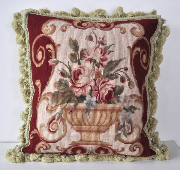 "16"" x 16"" Handmade Wool Needlepoint Cushion Cover Pillow Case 12980112"