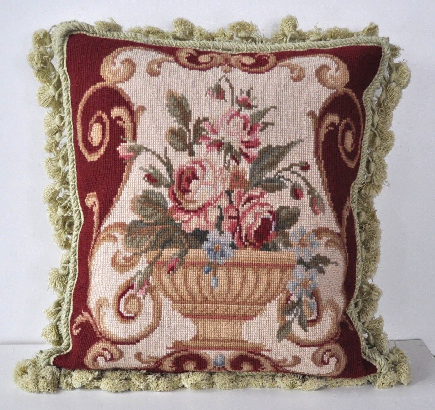 16″ x 16″ Handmade Wool Needlepoint Cushion Cover Pillow Case 12980112