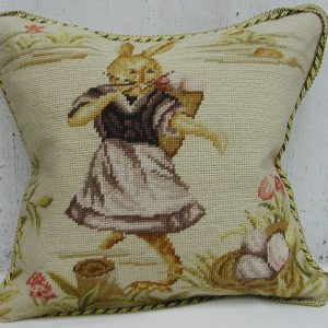 16 x 16 Handmade Wool Needlepoint Dancing Rabbit Easter Bunny Cushion Cover Pillow Case 12980136