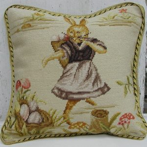 16 x 16 Handmade Wool Needlepoint Dancing Rabbit Easter Bunny Cushion Cover Pillow Case 12980137
