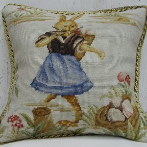 16 x 16 Handmade Wool Needlepoint Dancing Rabbit Easter Bunny Cushion Cover Pillow Case 12980145