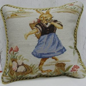 16 x 16 Handmade Wool Needlepoint Dancing Rabbit Easter Bunny Cushion Cover Pillow Case 12980146