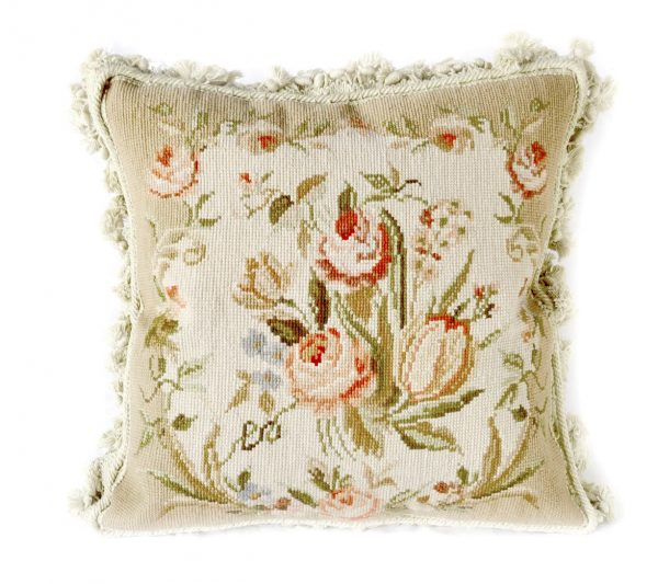 "16"" x 16"" Handmade Wool Needlepoint Floral Rose Bouquet Cushion Cover Pillow Case 12980104"