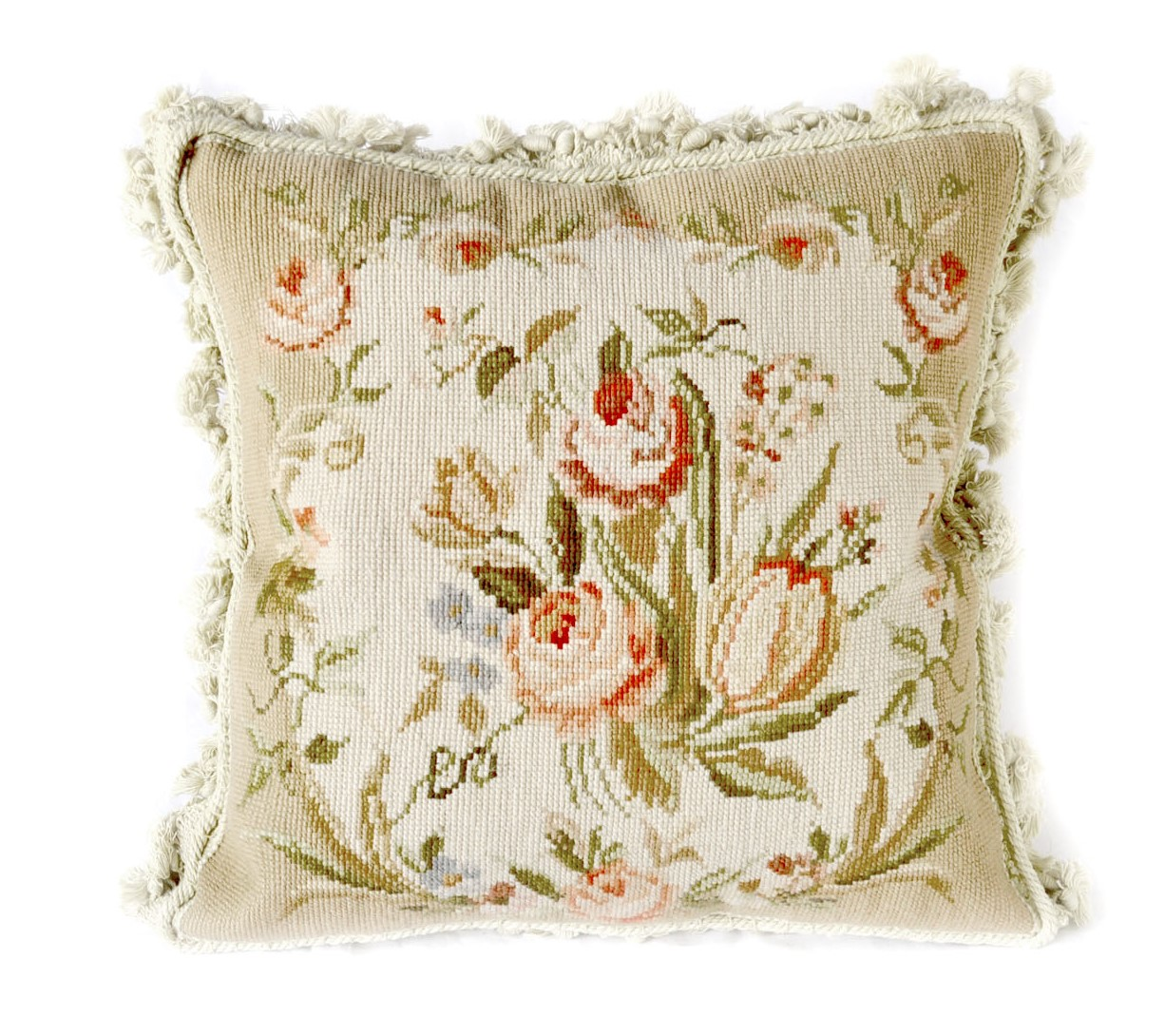 16″ x 16″ Handmade Wool Needlepoint Floral Rose Bouquet Cushion Cover Pillow Case 12980104
