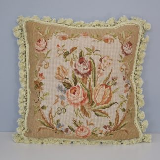 16 x 16 Handmade Wool Needlepoint Floral Roses Cushion Cover Pillow Case 12980104