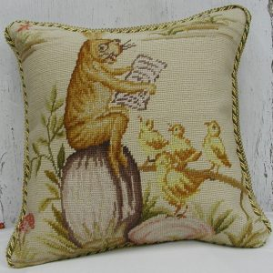 16 x 16 Handmade Wool Needlepoint Rabbit Easter Bunny Bird Story Time Cushion Cover Pillow Case 12980127
