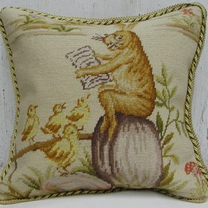 16 x 16 Handmade Wool Needlepoint Rabbit Easter Bunny Bird Story Time Cushion Cover Pillow Case 12980135