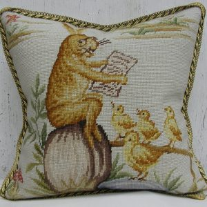 16 x 16 Handmade Wool Needlepoint Rabbit Easter Bunny Bird Story Time Cushion Cover Pillow Case 12980143
