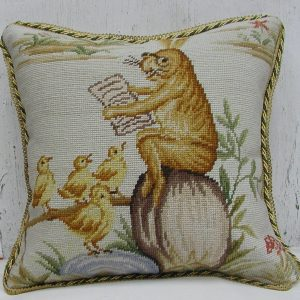 16 x 16 Handmade Wool Needlepoint Rabbit Easter Bunny Bird Story Time Cushion Cover Pillow Case 12980144