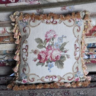 "16"" x 16"" Handmade Wool Needlepoint Rose Cushion Cover Pillow Case 12980123"