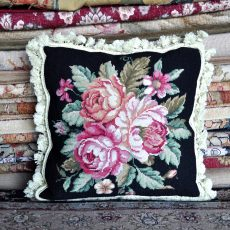 "16"" x 16"" Handmade Wool Needlepoint Roses Black Cushion Cover Pillow Case 12980116"