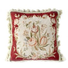 "16"" x 16"" Handmade Wool Needlepoint Roses Cushion Cover / Pillow Case 12980105"