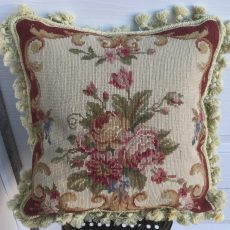 "16"" x 16"" Handmade Wool Needlepoint Roses Cushion Cover Pillow Case 12980114"