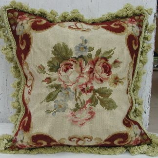 "16"" x 16"" Handmade Wool Needlepoint Roses Cushion Cover Pillow Case 12980124"