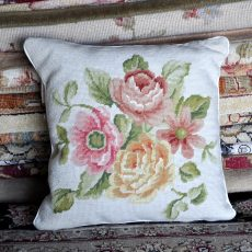 16 x 16 Handmade Wool Needlepoint Roses Cushion Cover Pillow Case 12980155