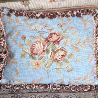 "16"" x 20"" Handmade French Blue Wool Needlepoint Petit Point Cushion Cover Pillow Case 12980156"