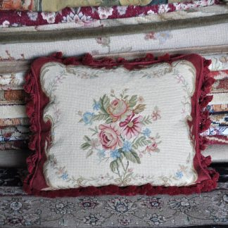 "16"" x 20"" Handmade Wool Needlepoint Petit Point Roses Cushion Cover Pillow Case 12980158"
