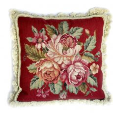 "16""x16"" Handmade Red Wool Needlepoint Rose Bouquet Cushion Cover Pillow Case 12980117"