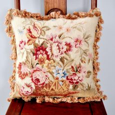 18″x18″ Handmade Wool Needlepoint Basket of Flowers Cushion Cover Pillow Case 12980125