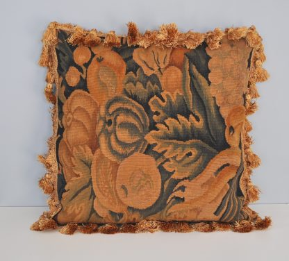 "18"" x 18"" Antique Finished Handmade French Gobelins Tapestry Weave Wool Aubusson Cushion Cover Pillow Case 12980028"