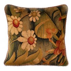 "18"" x 18"" Handmade French Gobelin Tapestry Weave Wool Aubusson Cushion Cover Pillow Case 12980026"