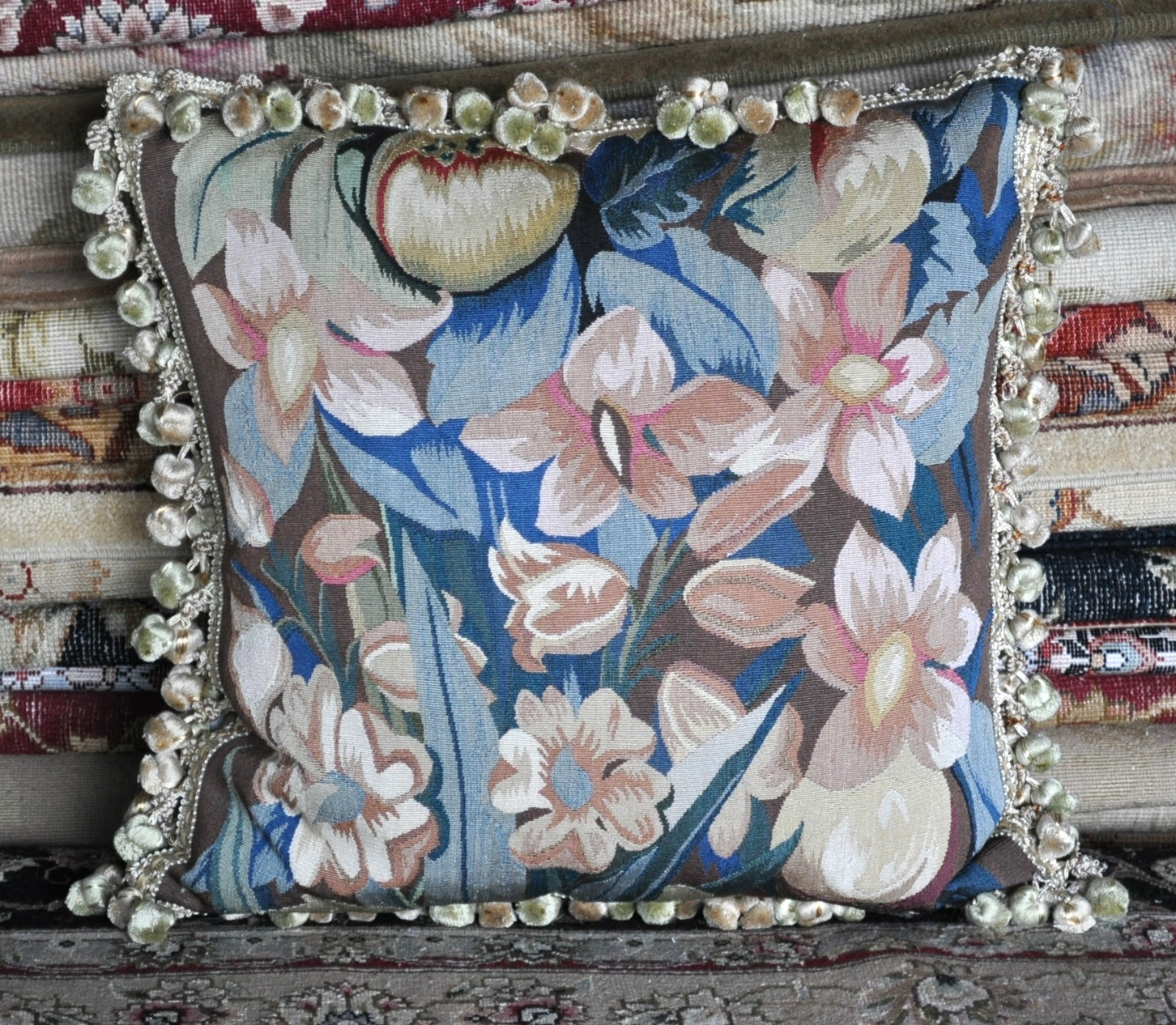 18″ x 18″ Handmade French Gobelins Tapestry Weave Silk Aubusson Cushion Cover Pillow Case 12980042