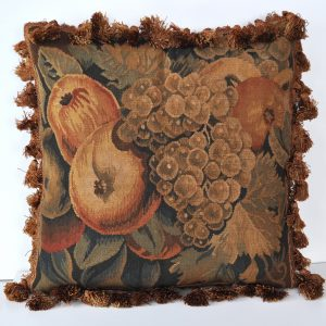 """18"""" x 18"""" Handmade French Gobelins Tapestry Weave Wool Grapes Aubusson Cushion Cover Pillow Case 12980030"""