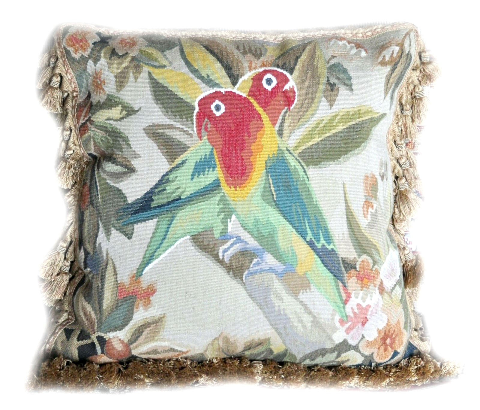18 x 18 Handmade French Gobelins Tapestry Weave Wool and Silk Bird Parrot Aubusson Cushion Cover Pillow Case 12980037 (1)
