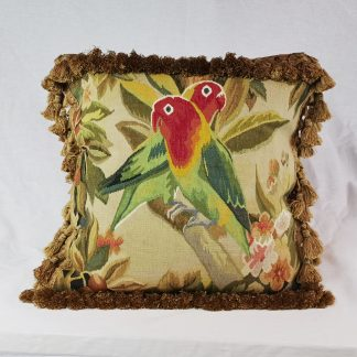 "18"" x 18"" Handmade French Gobelins Tapestry Weave Wool and Silk Bird Parrot Aubusson Cushion Cover Pillow Case 12980037"