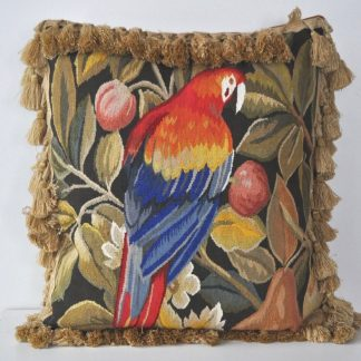 18 x 18 Handmade Parrot French Gobelin Tapestry Weave Wool Aubusson Cushion Cover Pillow Case 12980035