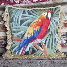 18 x 18 Handmade Parrot French Gobelins Tapestry Weave Wool and Silk Aubusson Cushion Cover Pillow Case 12980039