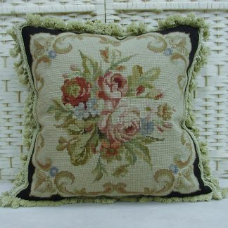 "18"" x 18"" Handmade Roses Black Wool Needlepoint Cushion Cover Pillow Case 12980003"