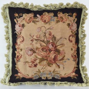 "18"" x 18"" Handmade Wool Needlepoint Petit Point Black Cushion Cover Pillow Case 12980131"