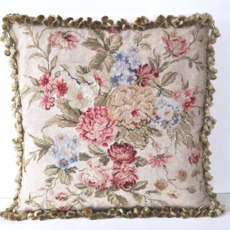 "18"" x 18"" Handmade Wool Needlepoint Petit Point Floral Roses Cushion Cover Pillow Case 12980097"