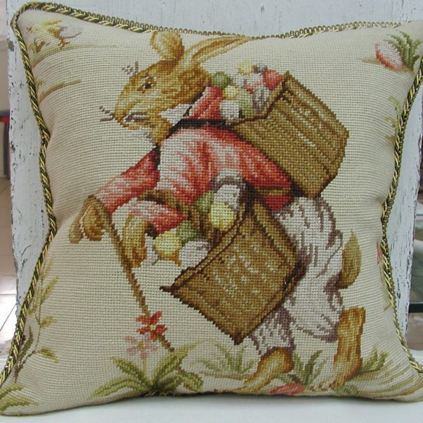 18 x 18 Handmade Wool Needlepoint Rabbit Easter Bunny Cushion Cover Pillow Case 12980138